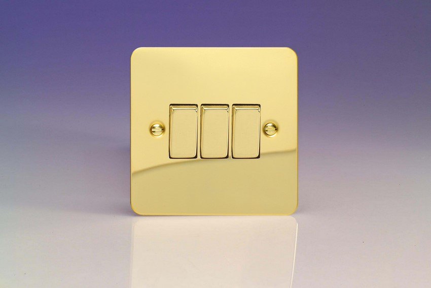 XFV3D Varilight 3 Gang (Triple), 1 or 2 Way 10 Amp Switch, Ultra Flat Polished Brass Effect