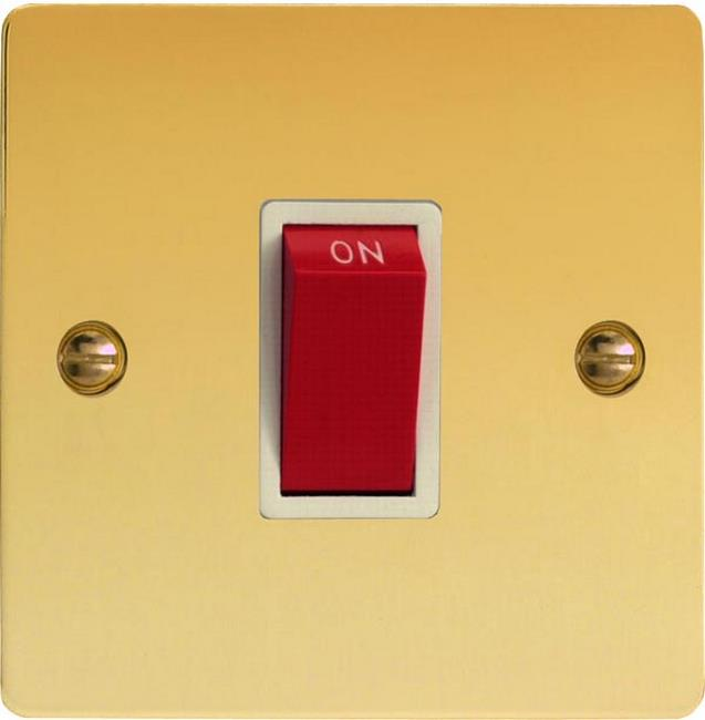 XFV45SW Varilight 45 Amp Cooker Switch (Single Size), Ultra Flat Polished Brass Effect