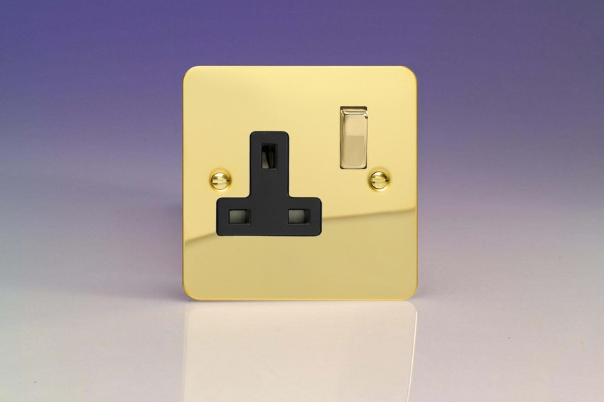 XFV4DB Varilight 1 Gang (Single), 13 Amp Switched Socket, Ultra Flat Polished Brass Effect