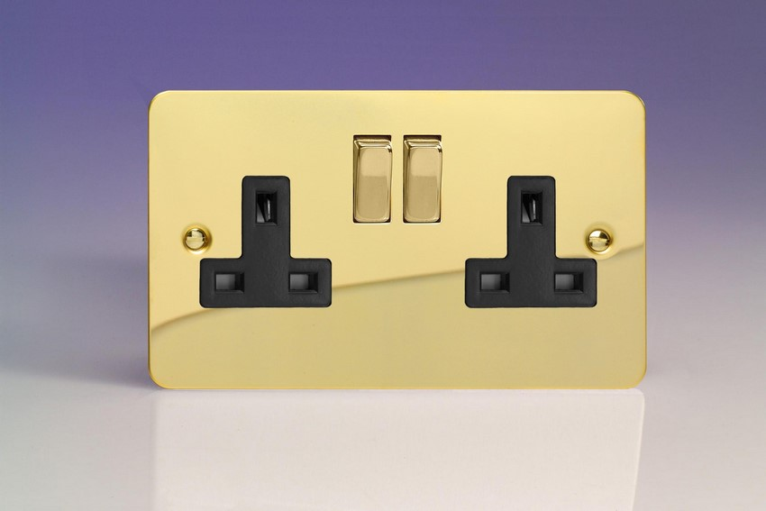 XFV5DB Varilight 2 Gang (Double), 13 Amp Switched Socket, Ultra Flat Polished Brass Effect