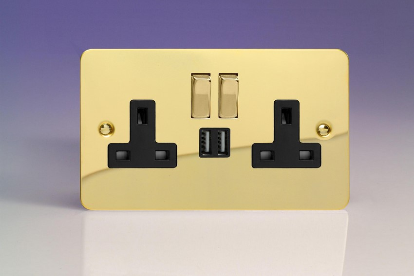 XFV5U2SDB Varilight 2 Gang 13A Single Pole Switched Socket + 2 x 5V DC 2100mA USB Charging Ports, Black Insert & Polished Brass Switches. Ultra Flat Polished Brass Effect
