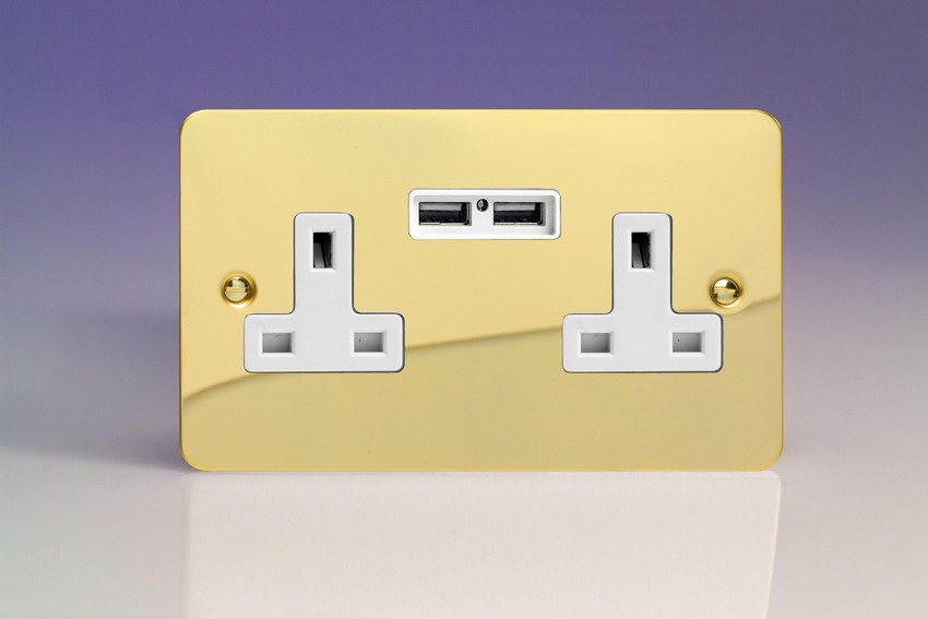 XFV5U2W Varilight 2 Gang, 13 Amp Unswitched Socket with 2 Optimised USB Charging Ports, White Insert. Ultra Flat Polished Brass Effect