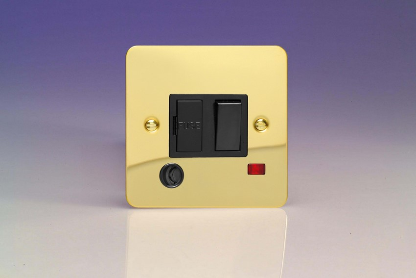 XFV6FONB Varilight 1 Gang (Single), 13 Amp Switch Fused Spur with Flex Outlet and Neon, Ultra Flat Polished Brass Effect