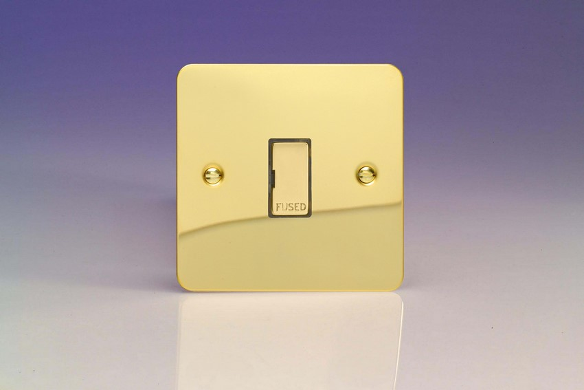 XFV6UD Varilight 1 Gang (Single), 13 Amp Unswitched Fused Spur, Ultra Flat Polished Brass Effect