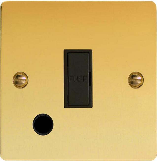 XFV6UFOB Varilight 1 Gang (Single), 13 Amp Unswitched Fused Spur with Flex Outlet, Ultra Flat Polished Brass Effect