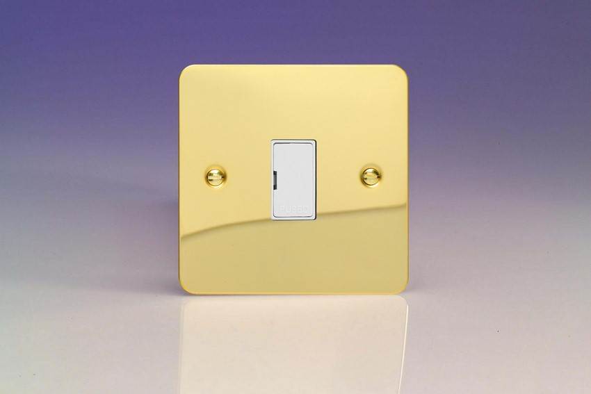 XFV6UW-SP Varilight 1 Gang (Single), 13 Amp Unswitched Fused Spur, Ultra Flat Polished Brass Effect (Bespoke & Special)