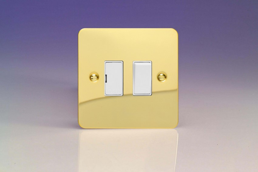 XFV6W-SP Varilight 1 Gang (Single), 13 Amp Switched Fused Spur, Ultra Flat Polished Brass Effect (Bespoke & Special)