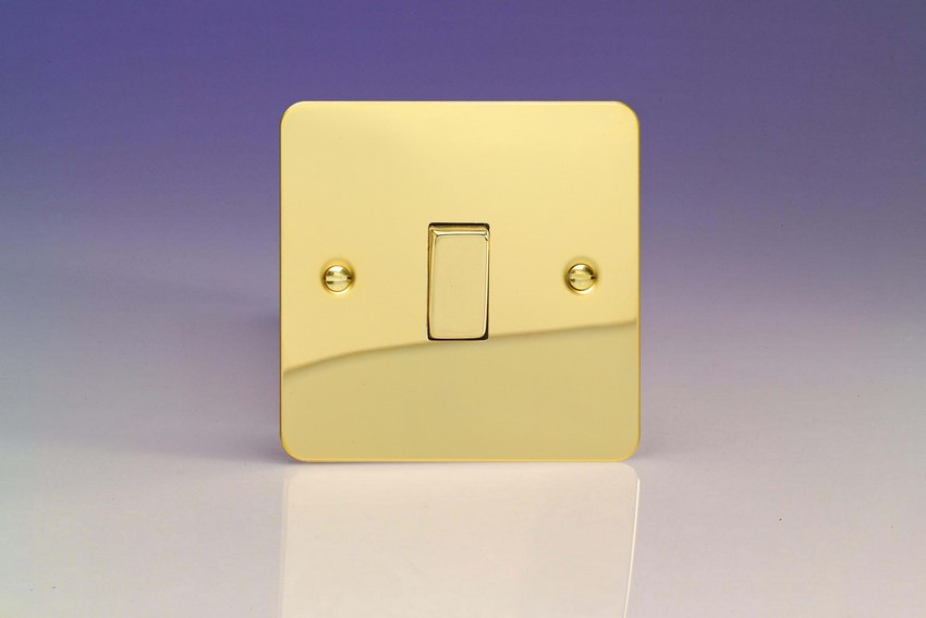 XFV7D Varilight 1 Gang (Single), (3 Way) Intermediate 10 Amp Switch, Ultra Flat Polished Brass Effect