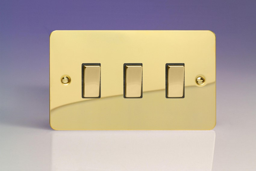 XFV93D Varilight 3 Gang (Triple), 1or 2 Way 10 Amp Switch, Ultra Flat Polished Brass Effect (Double Plate)