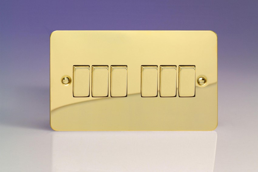 XFV96D Varilight 6 Gang 1or 2 Way 10 Amp Switch, Ultra Flat Polished Brass Effect (Double Plate)