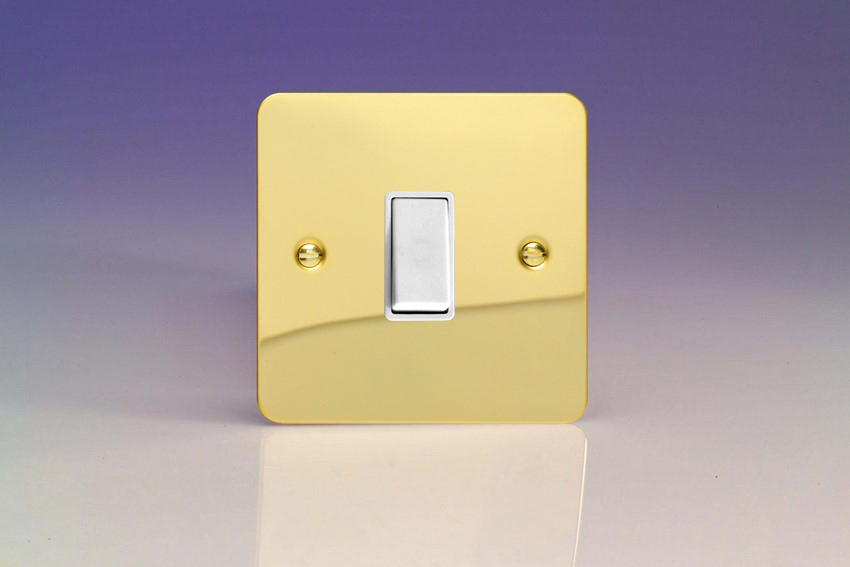 XFVBPW Varilight 1 Gang (Single), 1 Way, 10 Amp Retractive Switch (Bell and Blind Switch), Ultra Flat Polished Brass Effect