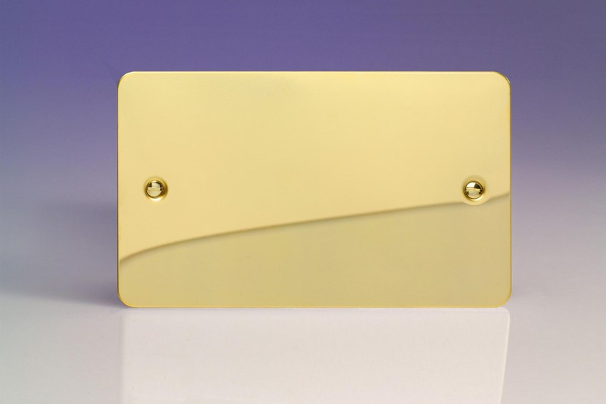 XFVDB Varilight 2 Gang (Double), Blank Plate, Ultra Flat Polished Brass Effect (Double Plate)