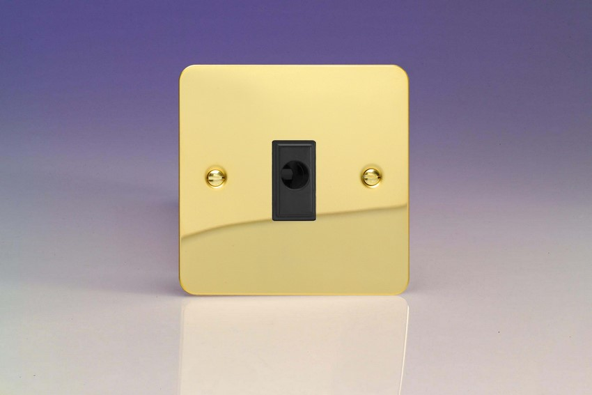 XFVFOB-SP Varilight Flex Outlet Plate with Cable Clamp. Black insert, Ultra Flat Polished Brass Effect (Bespoke & Special)