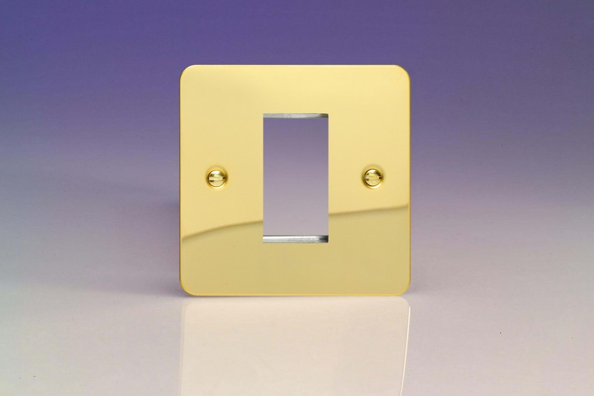 XFVG1 Varilight Single Size Data Grid Face Plate For 1 Data Module Width, Ultra Flat Polished Brass Effect
