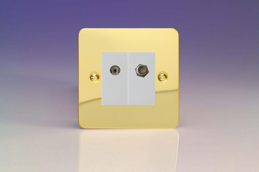XFVG88SW Varilight 2 Gang (Double), Co-axial TV and Satellite Socket, Ultra Flat Polished Brass