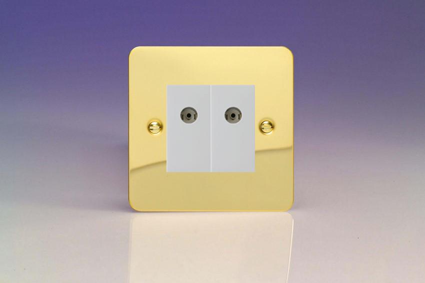 XFVG88W Varilight 2 Gang (Double), Co-axial TV Socket, Ultra Flat Polished Brass Effect