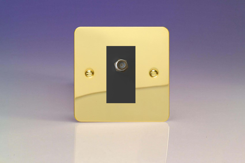 XFVG8SB Varilight 1 Gang (Single), Satellite TV Socket, Ultra Flat Polished Brass Effect with Black insert