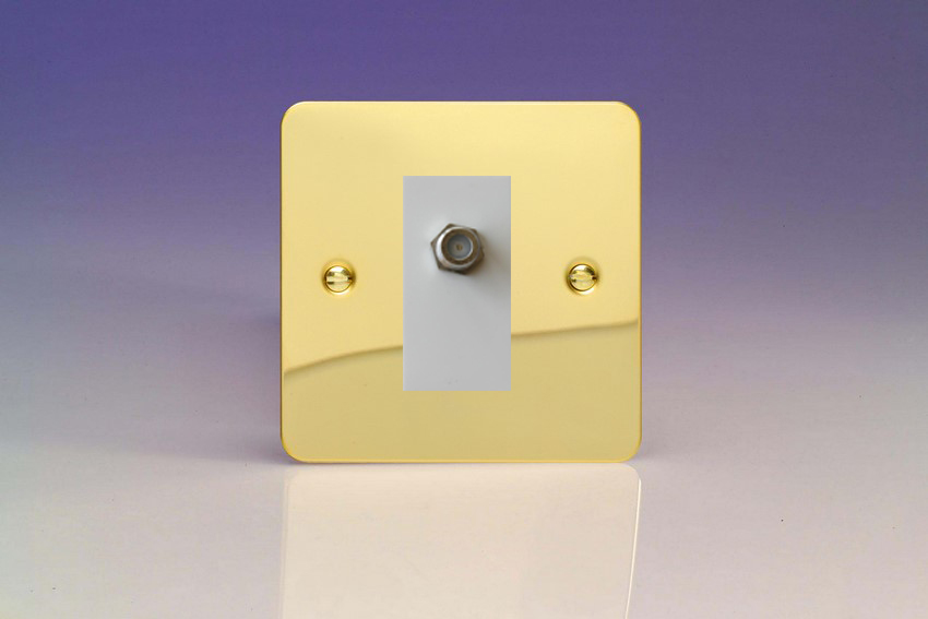 XFVG8SW Varilight 1 Gang (Single), Satellite TV Socket, Ultra Flat Polished Brass Effect with White insert