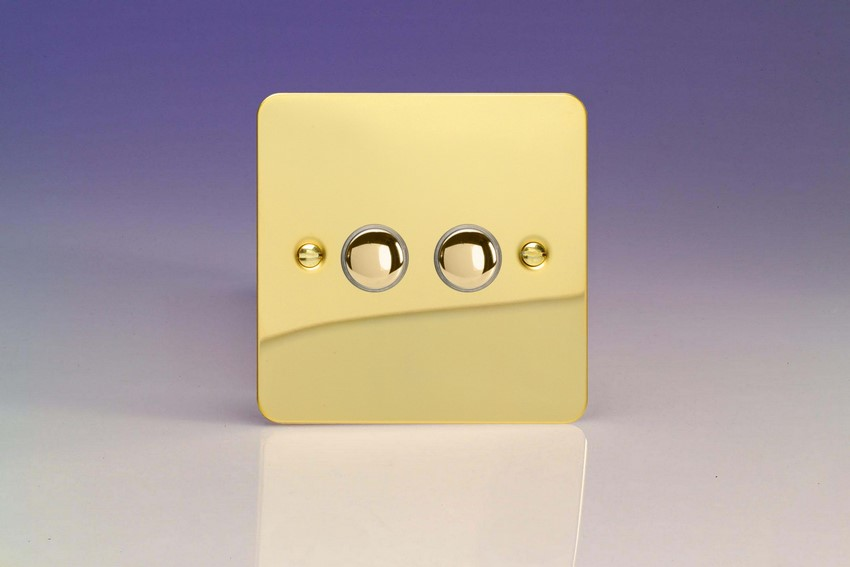 XFVM2 Varilight 2 Gang (Double), 1 Way, 6 Amp Impulse Retractive Switch (Push To Make), Ultra Flat Polished Brass Effect