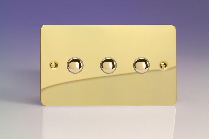 XFVM3 Varilight 3 Gang (Triple), 1 Way, 6 Amp Impulse Retractive Switch (Push To Make), Ultra Flat Polished Brass Effect