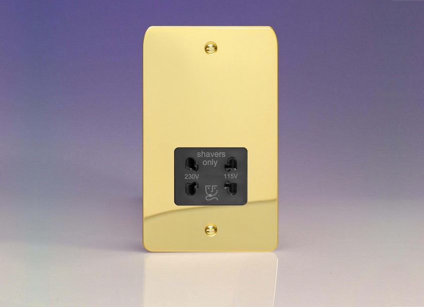XFVSSB Varilight Dual Voltage Shaver Socket, Ultra Flat Polished Brass Effect