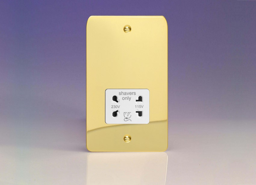 XFVSSW Varilight Dual Voltage Shaver Socket, Ultra Flat Polished Brass Effect