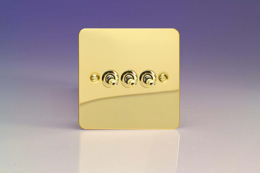 XFVT3 Varilight 3 Gang (Triple), 1 or 2 Way 10 Amp Classic Toggle Switch, Ultra Flat Polished Brass Effect