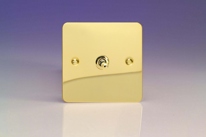 XFVT7 Varilight 1 Gang (Single), (3 Way) intermediate Classic Toggle Switch, Ultra Flat Polished Brass Effect