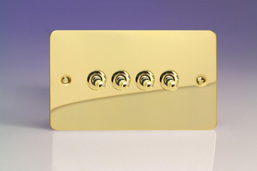 XFVT9 Varilight 4 Gang (Quad), 1or 2 Way 10 Amp Classic Toggle Switch, Ultra Flat Polished Brass Effect (Double Plate)