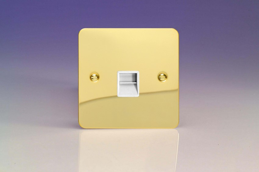 XFVTMW Varilight 1 Gang (Single), Telephone Master Socket, Ultra Flat Polished Brass Effect