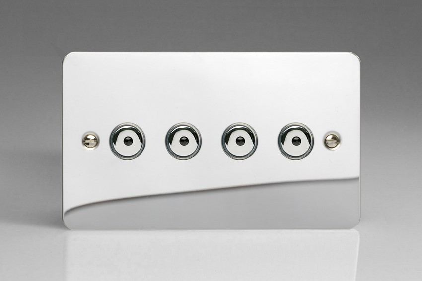 IJFCI104 Varilight V-Pro IR Series, Intelligent Programmable Master Dimmer, with Touch Sensitive Button and Centralised Remote Control Sensor - 4 gang, 0-100 Watts of LEDs, Ultra Flat Polished Chrome