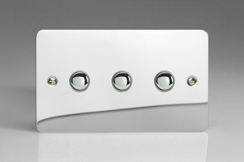 IJFCS003 Varilight V-Pro IR Series, 3 Gang Tactile Touch Button Slave Unit for 2 way or Multi-way Circuits Only, Ultra Flat Polished Chrome