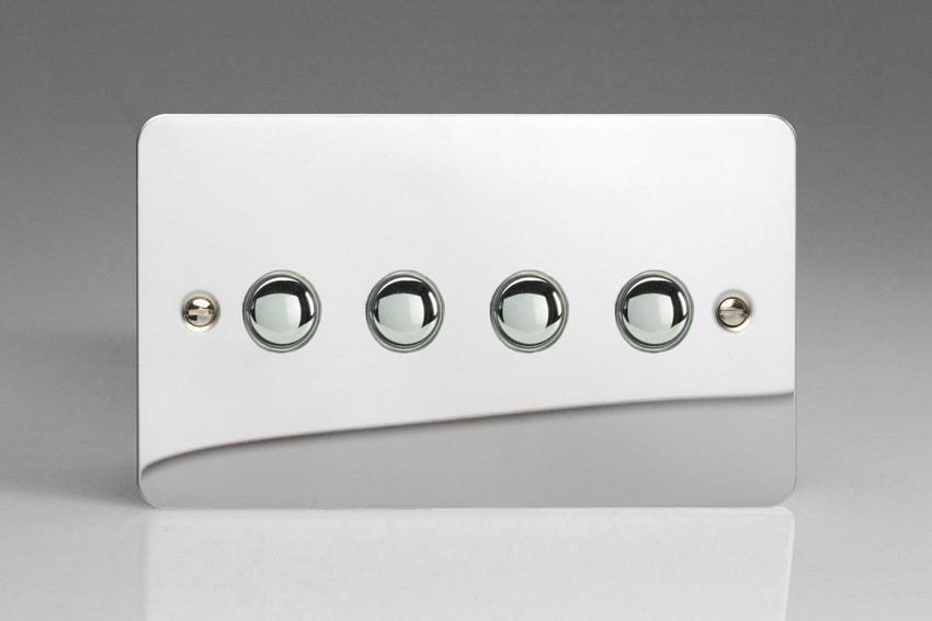 IJFCS004 Varilight V-Pro IR Series, 4 Gang Tactile Touch Button Slave Unit for 2 way or Multi-way Circuits Only, Ultra Flat Polished Chrome
