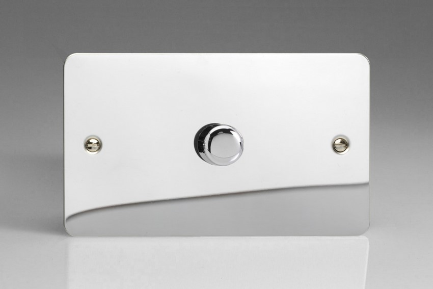 TFCDR1001 Varilight V-Dim Series 1 Gang on a Double Plate, 1 Way 1000 Watt Rotary Dimmer, Ultra Flat Polished Chrome