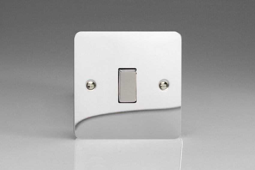 XFC1D Varilight 1 Gang (Single), 1 or 2 Way 10 Amp Switch, Ultra Flat Polished Chrome