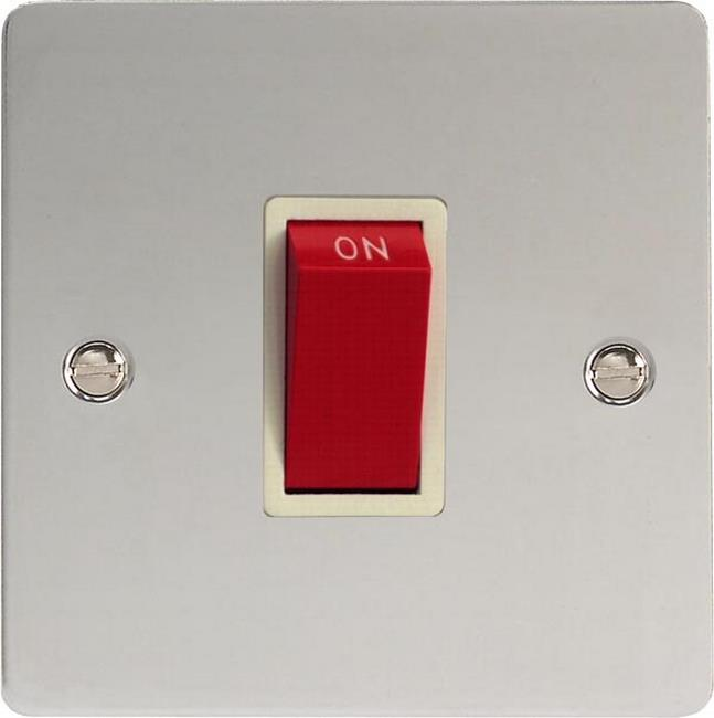 XFC45SW Varilight 45 Amp Cooker Switch (Single Size), Ultra Flat Polished Chrome