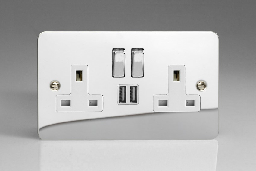 XFC5U2SDW Varilight 2 Gang 13A Single Pole Switched Socket + 2 x 5V DC 2100mA USB Charging Ports, White Insert & Polished Chrome Switches. Ultra Flat Polished Chrome Effect
