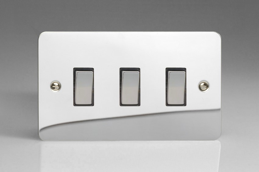 XFC93D Varilight 3 Gang (Triple), 1or 2 Way 10 Amp Switch, Ultra Flat Polished Chrome (Double Plate)