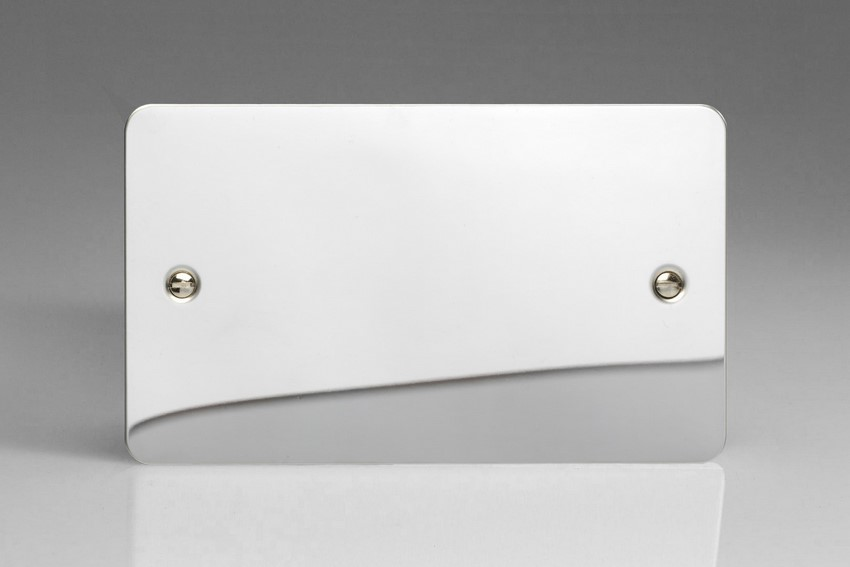 XFCDB Varilight 2 Gang (Double), Blank Plate, Ultra Flat Polished Chrome (Double Plate)