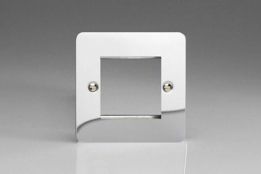 XFCG2 Varilight Single Size Data Grid Face Plate For 2 Data Modules, Ultra Flat Polished Chrome