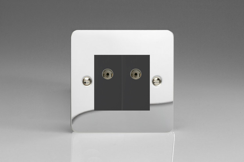 XFCG88B Varilight 2 Gang (Double), Co-axial TV Socket, Ultra Flat Polished Chrome