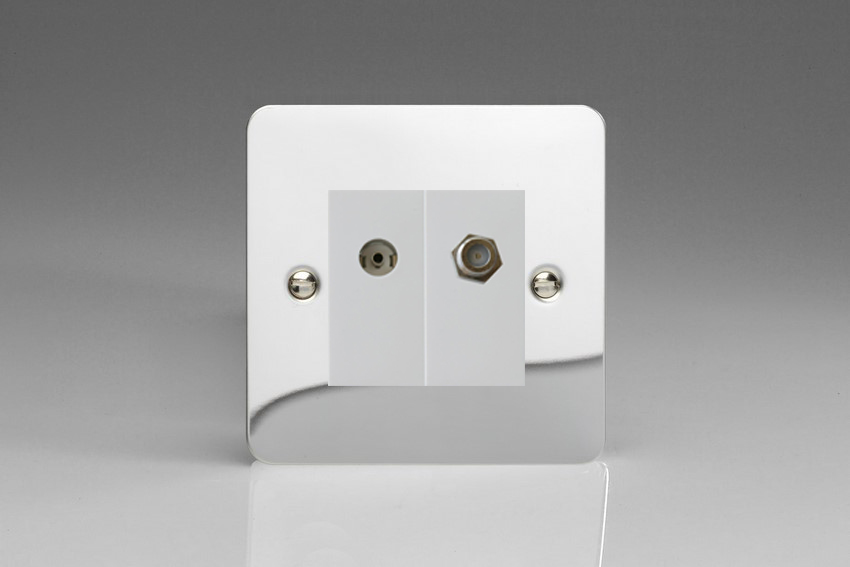 XFCG88SW Varilight 2 Gang (Double), Co-axial TV and Satellite Socket, Ultra Flat Polished Chrome