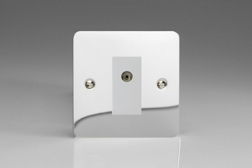 XFCG8ISOW Varilight 2 Gang (Double), Isolated Co-axial TV Socket, Ultra Flat Polished Chrome