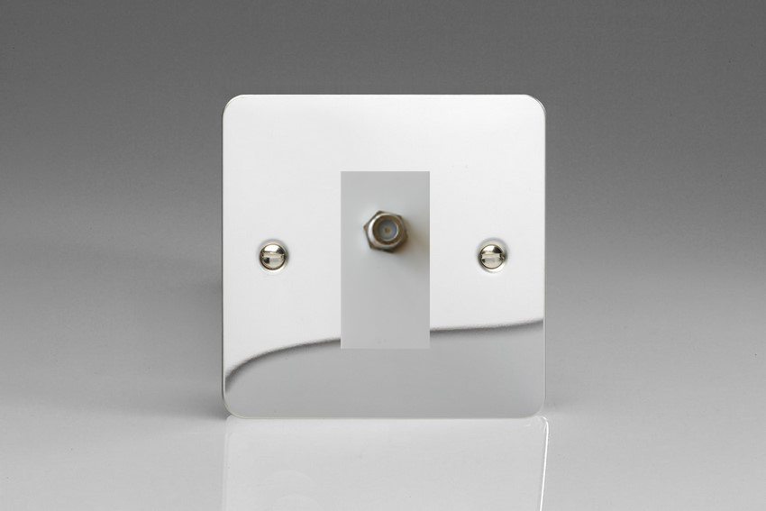 XFCG8SW Varilight 1 Gang (Single), Satellite TV Socket, Ultra Flat Polished Chrome with White insert