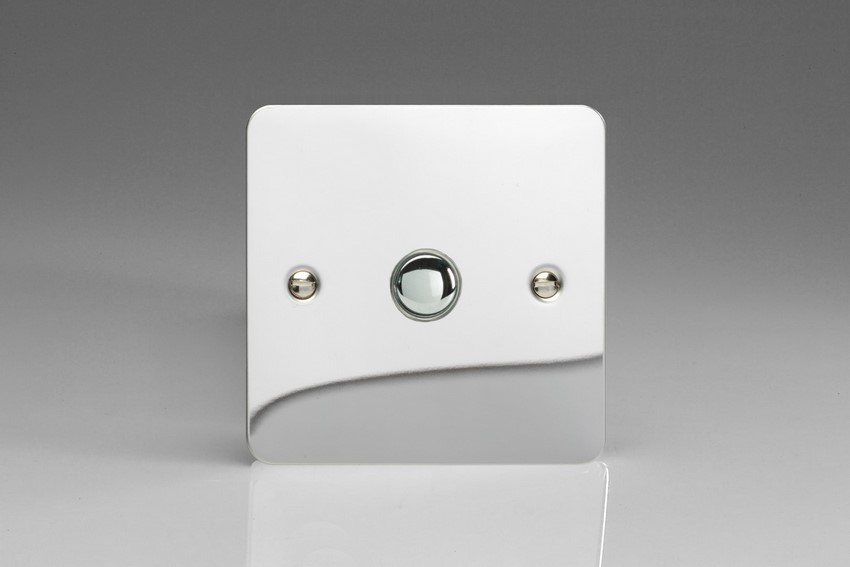 XFCP1 Varilight 1 Gang (Single) 1 or 2 way 6 Amp Push-on Push-off Switch (impulse), Ultra Flat Polished Chrome