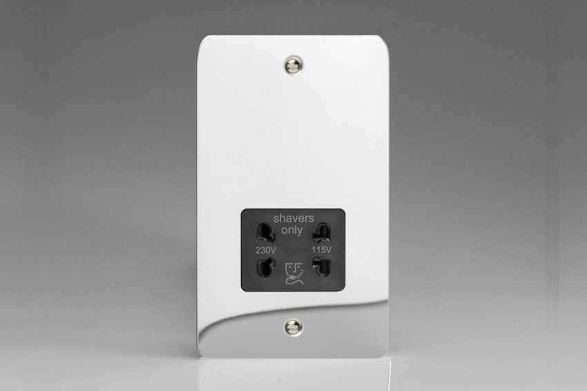 XFCSSB Varilight Dual Voltage Shaver Socket, Ultra Flat Polished Chrome