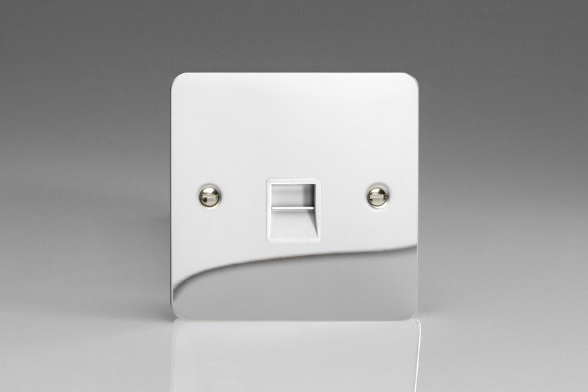 XFCTSW Varilight 1 Gang (Single), Telephone Slave Socket, Ultra Flat Polished Chrome