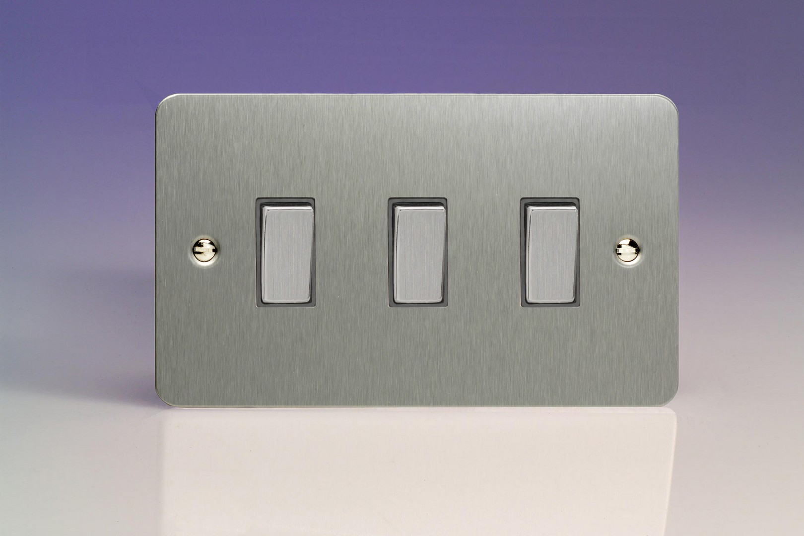 XFS93D Varilight 3 Gang (Triple), 1or 2 Way 10 Amp Switch, Ultra Flat Flat Brushed Steel (Double Plate)