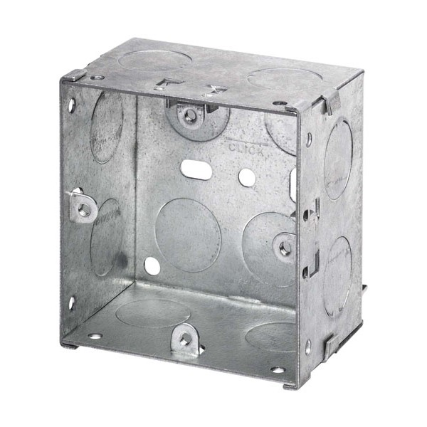 WBOXS47 Metal 47mm Deep Sinlge Wall Box (Knock-out)