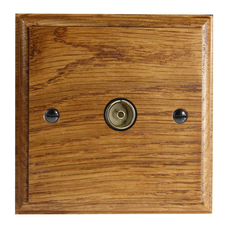 Classic 1Gang TV Co-axial Non Isolated Socket in Solid Medium Oak